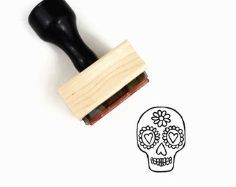 Rubber Stamp Sugar Skull - Day of the Dead - Wood Mounted Stamp by Creatiate