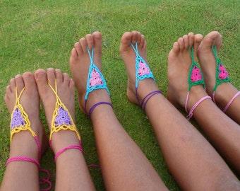 Crochet Pattern Barefoot Sandals Childs Girl - PDF easy crochet summer pattern - girl beach accessory - Instant Download pattern