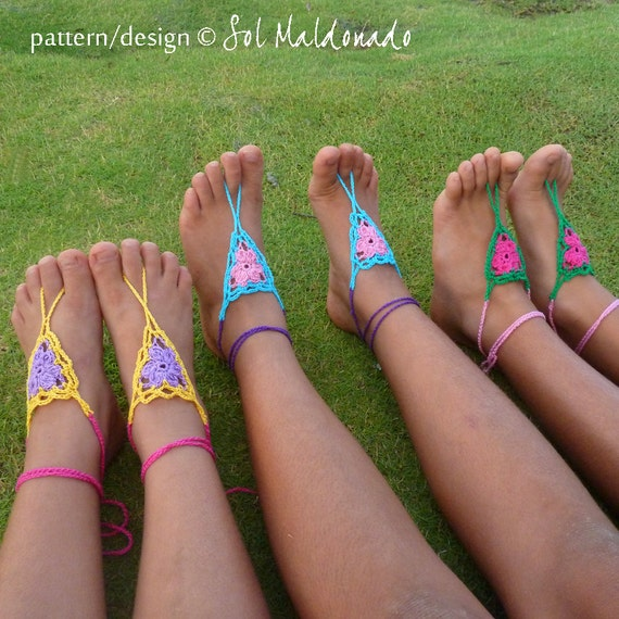 Crochet Pattern Barefoot Sandals Childs Girl - PDF easy crochet summer pattern - girl beach accessory - Instant Download pattern