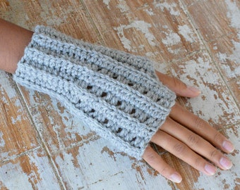 Crochet PATTERN knit look  Fingerless mittens women men gloves armwarmers for couples, DIY photo tutorial, Instant download