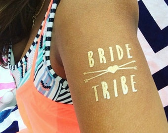 Bride Tribe Gold Temporary Tattoo, Individually Packaged Party Favors, Flash Tattoo, Gold Tattoo, Metallic Tattoo, Bride Tattoo Available
