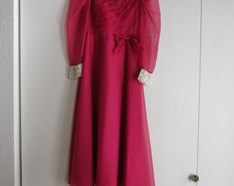 Vintage Girl's Bridesmaid Holiday Dress Size 6, Burgundy Sheer Fabric, New Old Stock
