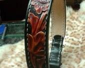 "Floral dog collar , luxury leather collar , Western floral dog collar , leather dog collar , Dog collars , 19"" black collar"