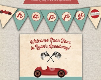 Race Car Birthday Party Kit - printable invitation, thank you card, banner, sign, party circles, favor tags, food drink labels