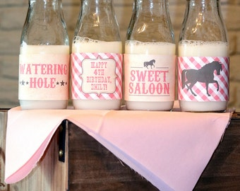Pony Party Water Bottle Labels - pink gingham   Pony Party Water Bottle Wrappers   Vintage Cowgirl Birthday Party   digital printable
