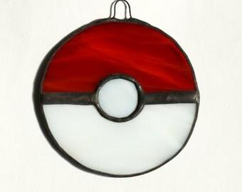 Pokeball Stained Glass, Video Game Glass,  Pokemon Sun Catcher, Nerd Glass, Geek Glass