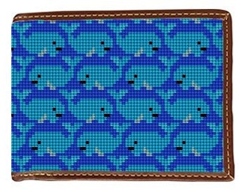 Preppy Whale Needlepoint Wallet