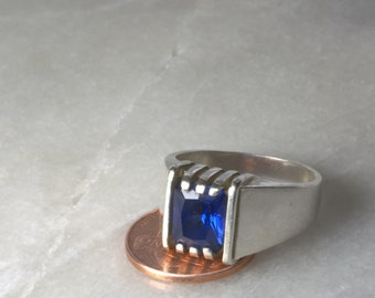 Sapphire and Sterling Ring(size 10)
