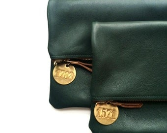 Foldover Clutch - Italian Leather (multiple colors) with Vintage Detail