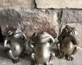 RESERVED ~ Vintage See No Evil, Hear & Speak Pewter Frogs Metal - #5867