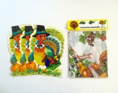Vintage Thanksgiving Greeting Cards and table cloth , lot of thanksgiving , retro , kitsch