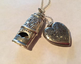 LOVE III Vintage Victorian Etched Heart Locket and Repousse Whistle Sterling Charm Pendant on 18 inch sterling rolo chain
