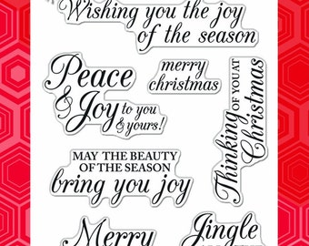 Merry Christmas Messages - Clear Acrylic Stamps from Hero Arts