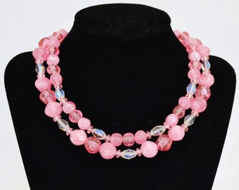 Vintage Double Strand Choker Necklace with Glass Stones and Pink Beads