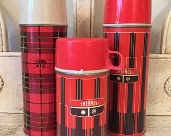Vintage Thermos Collection - Instant Collection - Red and Black and Brown