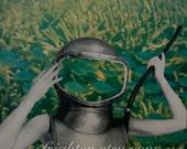 Nautical Art Print, Paper Collage Print, Aqua and Yellow Art, Retro Art Print, Scuba Diver Mask, Ocean Art