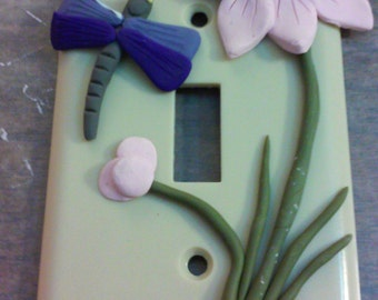 Flower with Dragonfly light-switch cover