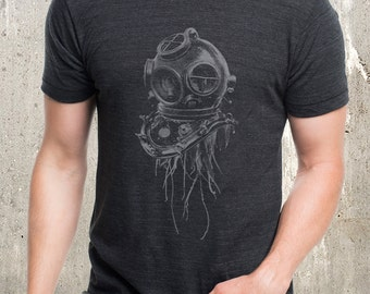 Jellyfish in Vintage Dive Helmet - Men's Tri Blend T-Shirt - American Apparel -  Available in S, M, L, XL and XXL