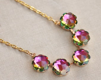RARE Swarovski Vitrail Medium Flower Link Necklace,Large Watermelon Rhinestone Crystal Tennis Bar Necklace,Gold,Flower Floral,Jewel Toned