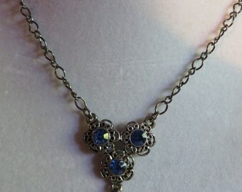 "18 1/2"" Blue Sapphire Necklace with Gunmetal Chain, Blue, Necklace, Sapphire"