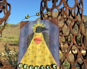 RESERVED ------ Big Raven Santos - Reclaimed Metal Salvage - Sacred Heart Blackbird Saint - Original Painting - Cathy DeLeRee