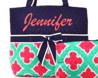 Personalized Mint Coral Quatrefoil Quilted Diaper Bag Set
