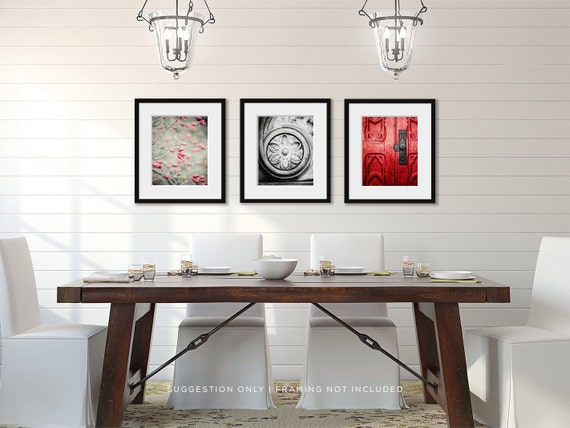 Formal dining room decor red wall art red home by for Red dining room wall art