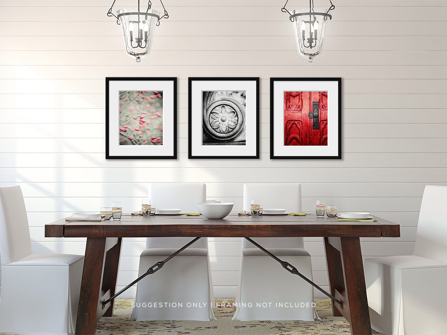 Formal dining room decor red wall art red home by for Elegant dining room wall decor