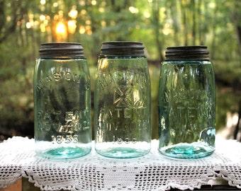 3 Mason's Patent Quart Aqua Jars ~ Mason's  Patent Nov 30TH 1858 ~ Mason's Hero's Cross Patent Nov. 30TH 1858 ~ Mason's Patent ~ Ins w/ Ship