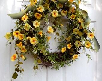 Summer Wreath - Wreath - Outdoor Wreath - Wreath For The Door - Yellow Petunia Wreath