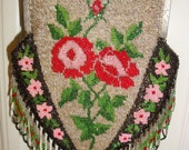 Antique Floral Beaded Handbag Pink Red ROSES Fringe Silver Frame Germany Collectible Decor Victorian Purse