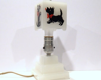 Vintage Scottie Dog Lamp - Art Deco Scottie Dog - Art Deco Lamp - Milk Glass Scottie Dog - 1930s Lamp