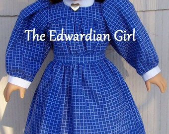 Three of a kind blue and white plaid Edwardian play dress. Fits 18 inch play dolls such as American Girl, Springfield. Made in USA