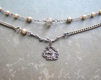 Vintage Unicorn Layered Assemblage Necklace / OOAK