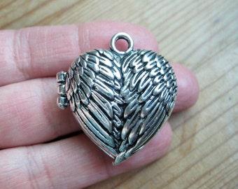 1 Angel Wing Heart Locket in Silver tone - C2423