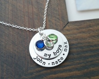 My Boys Necklace / Personalized Family Necklace with Kids Names / Custom Necklace for Mom of Boys / Kids Names Necklace