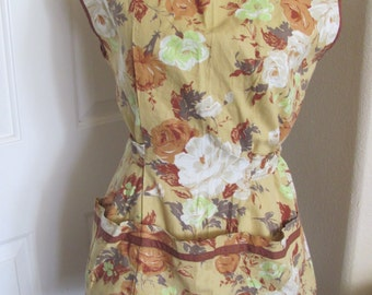 Vintage Ladies Dark Yellow Floral Cotton Full Apron (TL09)