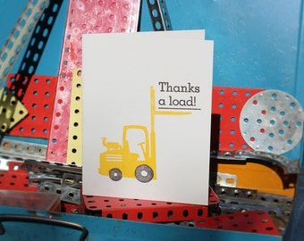 """Letterpress Thank You Card: """"Thanks a load!"""""""