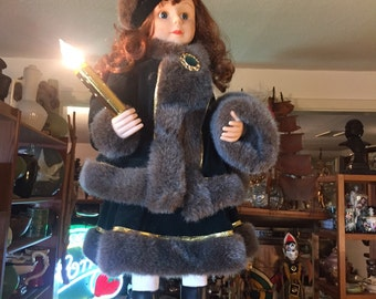 Christmas Holiday Moving Doll with Candle Telco Creations Motion Girl in Fur Coat