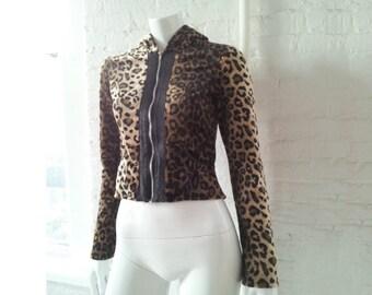 Leopard Skin Faux Fur Hoodie 90s Vintage Lip Service Small Boho Chic Fake Fur Jacket Clueless Grunge Club Kid Mod Goth Cropped Hoodie Jacket