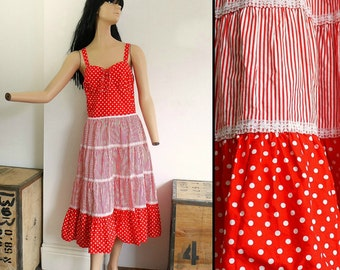 SALE Vintage 70s Red Polka Dot Sun Dress - Gypsy Dress Summer Dress Boho Hippie