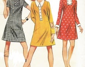 1960s Womens A Line Mini Dress in 3 Versions McCalls Sewing Pattern 9655 Size 16 Bust 38 UnCut Vintage Sewing Patterns