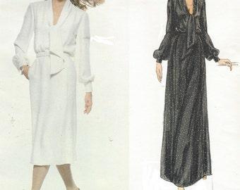 1970s Pierre Balmain Womens Dress Day or Evening Vogue Sewing Pattern 1857 Size 12 Bust 34 UnCut Vintage Vogue Paris Original