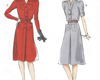 1940s Style Womens Dress Step In Dress Butterick Sewing Pattern B6282 Size 16 18 20 22 24 Bust 38 to 46 UnCut World War II Dress Patterns