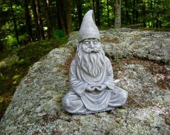 Gnome Statue, Meditating Gnome, Zen Garden Gnome Statue, Painted Concrete Gnome, Lotus Pose, Unique Gnome
