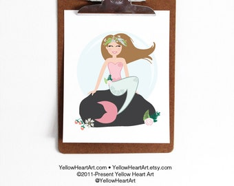 Pick Your Mermaid Hair Color Art Print by Yellow Heart Art