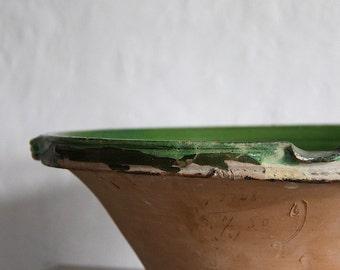 French Antique Confit Pot Handmade Glazed Pottery Bowl Green
