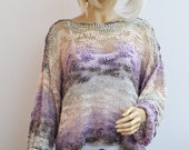 Purple cream gray sweater, loose knit, Grunge oversized,summer loose knit boho sweater READY TO SHIP!