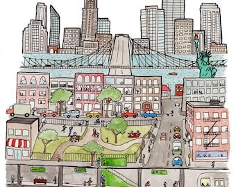 "New york Art Print- 8.5"" x 11"""