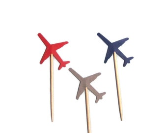 24  Airplane /Jet Party Picks-Food Picks-Cupcake Toppers - Red, Gray, Navy Blue